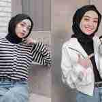 ootd hijab hitam putih
