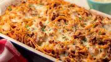spaghetti mozzarella panggang